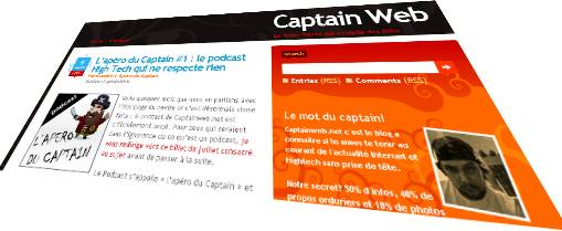 capitainweb: capture d'écran de l'annonce du podcast geek