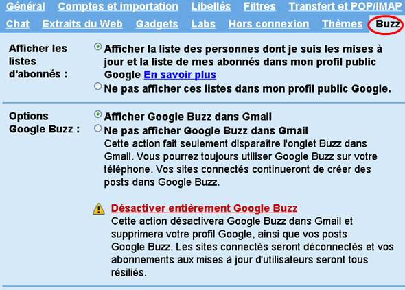 mode d'emploir pour supprmier google buzz